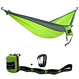 SEGMART Double Hammock with Tree Straps & Carabiners - Lime /Silver (Green)