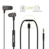 SMARTOMI Wired Wireless Headphones with Mic Magnetic Bluetooth 4.1 Noise Cancellation Headset Convertible Cord Cordless Earphones 4.5 Hours Music Time In Ear Earbuds for Travel Sport Gym Running
