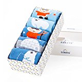 SUNBVE 5 Pack Unisex Baby Boys and Girls Eskimo Series Seamless Cotton Socks(1-3Years)