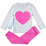 SUPER SOFT HEART 2 PIECE PAJAMA SET 100% COTTON (SIZE 12M-7Y) 2 FREE GIFTS, 2 Years, PINK / GREY