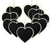 SUPERIORFE Chalkboards Wooden Heart Shaped Memo Message Blackboard with Hanging String 5.9