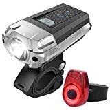 Sahara Sailor USB Rechargeable Bike Light Waterproof LED Bicycle Headlight W Tail Light and Secure Tool Free Mount