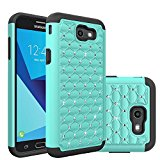 Samsung Galaxy J7 V Case, Galaxy J7 Sky Pro Case Galaxy J7 Perx Case, Galaxy J7 (2017) Case, Sfmn Dual Layer Drop Protection Armor Defender Protective Case for Samsung J7 (2017) (Green Glitter)