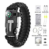 Save4you Paracord Bracelet Embedded Compass Fire Starter Emergency Knife Whistle W 16-Piece Survival Kit Includes Fishing Gear (black)