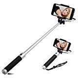Selfie Stick, Evershop Extendable Battery Free Wired Selfie Stick for iPhone 6S/6S Plus/6/6 Plus/SE,Galaxy S8/S8 Plus/S7/S7 Edge/S6 Edge/S6,Huawei P10/P10 Plus and other Smartphones(Silver)