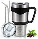 Selitan Stainless Steel Tumbler 30 Oz Gift Set - Double Wall Vacuum Insulated Travel Mug with Handle, Two Tritan Lids, Two Straws, Cleaning Brush & Storage Bag. Keep Beverages Hot or Cold