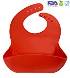 Silicon Baby Bibs FDA Approved Best Waterproof Soft Comfortable Dishwasher Safe With Food Catcher Pocket Snaps Bib (Red)