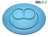 Silicone Baby Placemat Smiley Face Round Non Slip With Built in Plate Bowl Tray Best for Children Kids Toddlers (Blue)