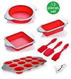 Silicone Baking Pans and Utensils (Set of 13) by Boxiki Kitchen | Silicone Cake Pan, Brownie Pan, Loaf Pan, Muffin Pan, 2 Spatulas, Brush and 6 Measuring Spoons