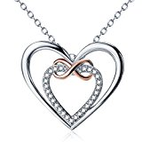 Silver Necklace Jewelry Cubic Zirconia Rose Gold Plated Infinity Interlocking Heart Pendant 20