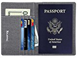 SimpacX Fabric Passport Holder Wallet Cover Case RFID Blocking Travel Wallet (gray)