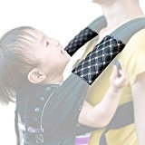 Soft Leather Baby Carrier Strap Cover Drool Pad, Adjustable Fit Width 2pc Set