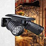 Solar Powered Lights PIR Motion Sensor Dual Head Spotlight Adjustable Waterproof 14 LED Wall Light for Deck Yard Garden Driveway - Auto On/Off