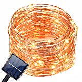Solar String Light Outdoor,Oak Leaf 19.7 Feet 120 LED Warm White Solar Powered String Lights Waterproof Copper Wire Lights For Garden,Yard,Home,Landscape