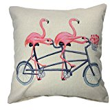 Soo Angeles Cotton Linen Square Decor Throw Pillow Case Cushion Cover Pink Flamingo with Bicycle Style 18 X 18 Inch