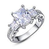 Square White Quartz Anniversary Promise Wedding Engagement Ring Bridal Sets 18k White Gold Plated (7)