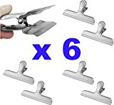 Stainless Steel Chip Bag Clip - Set of 6 Heavy Duty, Wide Jaw Bulldog Binder Clips for a Tight Grip Seal on Potato Chips, Coffee Bags, Fresh Food Storage by Pro Chef Kitchen Tools