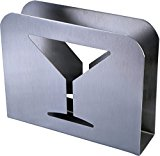 Stainless Steel Cocktail Napkin Holder - Metal Square Serviette Dispenser with Fancy Cocktail Wine Glass Design for Home, Bars and Restaurant Tables by Pro Chef Kitchen Tools