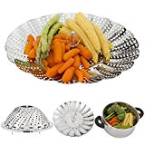 Stainless Steel Folding Vegetable Steamer Rack, Fruits Basket, 9 Inch