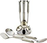 Stainless Steel Kitchen Utensil Set - 6 Essential Utensils for Easier Cooking, Baking, Grilling and Serving with Bonus Holder Stand to Help Keep You Organized by Pro Chef Kitchen Tools