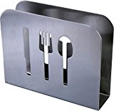 Stainless Steel Modern Napkin Holder - Serviette Dispenser with Dinner Eating Utensil Design on Metal Caddy for Home and Restaurant Kitchens by Pro Chef Kitchen Tools