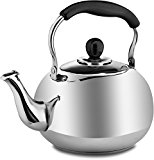 Stainless Steel Tea Pot Kettle - Polished Mirror Finish Vintage Style Small Teapot to Boil Hot Water on Stovetop for Coffee and Teas in Easy to Pour Classic Cookware by Pro Chef Kitchen Tools