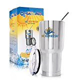 Stainless Steel Vacuum-Insulated commuter Travel 30oz Tumbler Cup W/ Spill And Splash Proof Lid HC REFRESH - Keeps Your Drink Cold/Hot - For Camping Beach Office On The Go Two Straws Cleanning Brush