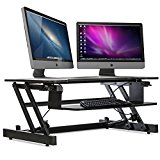 Stand Up Desk Height Adjustable - With Unlimited Standing Height Settings Positions | 2-Tier Desk Riser With Dual Monitor Capability | 50lb Capacity 32