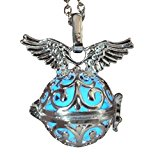 Steampunk fairy necklace Blue glow in the dark silver wings by Umbrellalaboratory