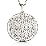 Sterling Silver Flower of Life Mandala Pendant Necklace 18'' Solid 925 Silver Chain