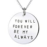 Sterling Silver Jewellery 925 Circle Unisex Engraved Charm Pendant Necklace 18