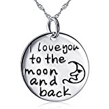 Sterling Silver Tone Pendant with Chain Engraved Circle White Gold Plated Necklace Jewelry 18