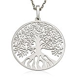 Sterling Silver Tree of Life Pendant Necklace 18'' Solid 925 Silver Chain