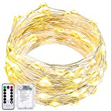 String Lights Dimmable with Remote Control,Oak Leaf 19.7ft 60 LEDs Waterproof Super Bright LED Fairy Starry Lights For Bedroom Party Patio,Battery Powered,Warm White