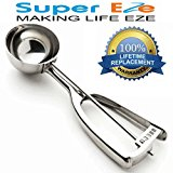 SuperEze Cookie Dough Scoop & Ice Cream Scooper. Premium Stainless Steel (Size 40) - FREE Recipes. Perfect for Muffins, Cookies, Water Melons or a Portion Control Disher- Small 3/4 Ounce Dropper- 40mm