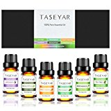TASEYAR Therapeutic Grade Aromatherapy Scented Essential Oil Gift Set (Lavender, Tea Tree, Eucalyptus, Peppermint, Lemongrass and Sweet Orange), Set of 6, 10 Milliliter/Each