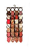 Tie Rack, Closet Organizer, the No Snags Space Saver, holds over 2 dozen Ties and Scarves (1-Black)