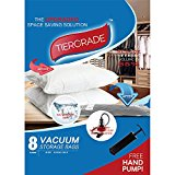 Tiergrade Vacuum Storage Bags 8 Pack, Premium JUMBO Space Bag Double Zip Seal and Triple Seal Turbo Valve Works With Any Vacuum Cleaner + Free Travel Hand Pump