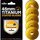 Titanium Coated Rotary Cutter Blades 45mm, 5 Pack - Replacement Blades for Fiskars, Olfa, Gingher and More - Cuts Fabric, Sewing, Leather and Paper - Quilting Blades by Evergreen Art Supply