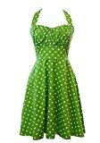 Totina Retro 1950s Polka Dot Smock Halter Swing Dress XXL Lime