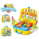 Toy Kitchen Play Food Set for Kids - with Toy Car Carrying Case - 25 Pieces Play Set for Children 3+