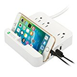 UL LISTED Surge Protector - EZOPower Desktop Charging Station with 3 AC Outlets, 3 USB Charger Ports and Built-in Phone Slot Holder - White