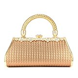 ULG Evening Bag Women Clutch Purse Rhinestone Stainless Steel Wallet Wedding Handbag 8.9