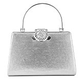 ULG Women's Evening Handbag Luxury Clutch Purse For Wedding Party Bling Rhinestones Wallet Beaded Bag 7.5'' Sliver