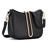 ULG Women's PU Leather Wristlet Handbag Cross Body Shoulder Messenger Bag Zipper Purse Wallet With Strap Black