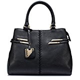 ULG Women PU Leather 3-Way Tote Handbag Cross Body Shoulder Messenger Bag With Strap Black