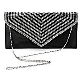 ULG Women Rhinestones Handbag Evening Shoulder Bag Party Envelope Clutch Purse Wallet 11.5inch Black