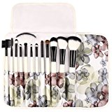 UNIMEIX Professional 12 Pcs Makeup Brushes Cosmetics Brush Set With Flower Pattern Case ( Black Flower)