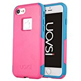 UOVSI,iPhone 7 Case,[Light Armor Series] Ultra Amror Light Duty Protection Defense Shield [Dual Layer Case] For iphone 7 4.7-inch [With Free Scratch Resistant Scree Protector] (Rose Blue)