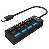 USB Hub, AMALINK 4-Port USB 2.0 Hub with Individual Switch Compatible with Laptops, Desktops,Tablet, U Drive,Mobile Phone,Mouse